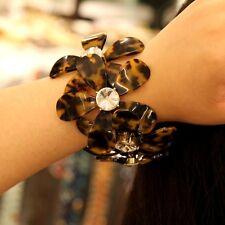 Bracelet Gros Fleur Motif Ecaille de tortue Cristal Original Soirée Mariage CT1