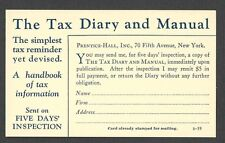 Ca 1921 P C NY PRENTICE HALL BOOK ON LAW TAX DIARY & MANUEL UNPOSTED