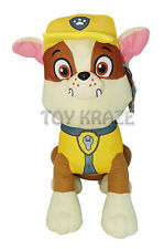 "PAW PATROL PLUSH! RUBBLE YELLOW SMALL DOG PUPPY BULLDOG SOFT DOLLS 10"" NEW"