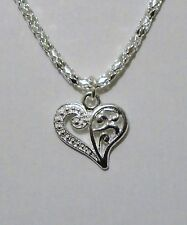 17in Silver Plated Heart Necklace New N4