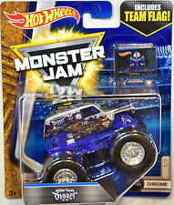 HOT WHEELS MONSTER JAM 2017 TEAM FLAG SONUVA DIGGER CHROME #1/7