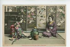 Geishas Taking Tea Antique Japanese Hand-Colored PC ca. 1910s
