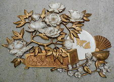 SYROCO Wall Hanging Plaque Composite Gold Floral Rose Butterfly Oriental Fan '73