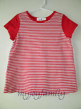 HANNA ANDERSSON Two Side Stripe Swiss Dot Ruffle Top Shirt Red White 130 8 NWT