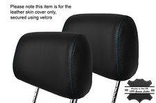 BLUE STITCH 2X FRONT HEADREST LEATHER SKIN COVERS FITS BMW 3 SERIES E36 92-99