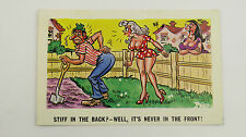 1960s Comic Postcard Blonde Upskirt Big Boobs Gardener Gardening Allotment