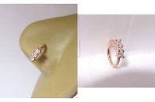 18k Rose Gold Plated 3 Clear CZ Crystals Nose Nostril Hoop Ring 18 gauge 18g