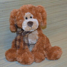 "GUND Big Booker Brown Plush Puppy Dog 14"" Seated 13089 RARE Plaid Bow"