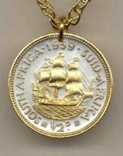 """South African ½ penny """"Sailing ship"""" Coin Pendant Necklace."""