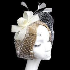 Beige Mesh Veil Net Feather Hair Fascinator Bridal Hair Clip headPiece