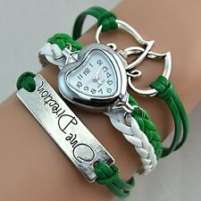 GirlZ!One Direction multilayer leather Heart bracelet with watch - Green
