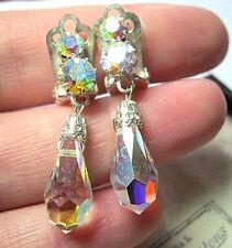 Lovely Vintage 1950's Rainbow Crystal AB Aurora Borealis Bead Jewellery EARRINGS