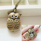 Bronze Night Owl Necklace Pendant Quartz  Pocket Watch Chain for Men Women