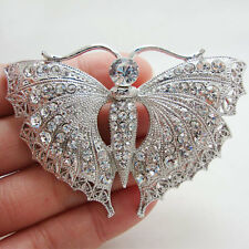 Silver-Tone Bride Wedding Butterfly Clear Rhinestone Crystal Insect Brooch Pin