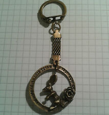 "KEY RING "" RABBIT +ROSE""  ON  ANTIQUE GOLD PLATED  LONG KEY"