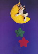 Crochet Pattern ~ COW & MOON MOBILE Baby Cow on the Moon ~ Instructions