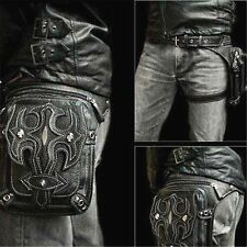 Men Retro Leather Waist Fanny Leg Bag Motorcycle Rider Punk Rock Messenger