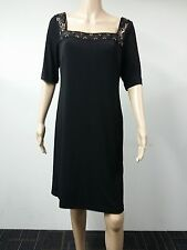 NEW FAST to AUS - Donna Morgan - Size 14 - Beaded Neck Sheath Dress - Black $138