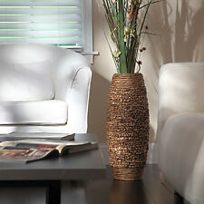 "Tall Floor Vase 23"" Big Brown Woven Hyacinth Decorative Large Elegant Home Decor"