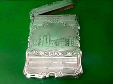 RARE holyroodhouse Castle Top Antico ENGLISH Sterling Silver Card Case 1852