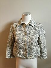 Theory Ivory Gray Black Retro Floral Damask Cropped Blazer Jacket S Excellent