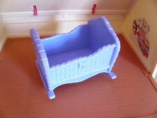 Fisher Price Loving Family Dream Dollhouse TWIN TIME BLUE BABY CRADLE BED CRIB