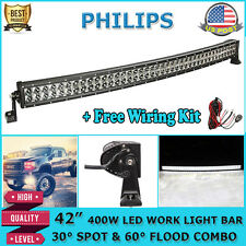 "42""/45"" 400W Curved LED Light Bar Offroad Fit For Ford Ranger F150 F250"
