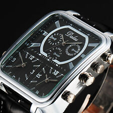 Men's Black Leather Oversized Rectangle 3 Time Zone Sport Military Wrist Watch