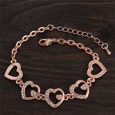 Damen Armband mit Herzen und Strasssteinen Armkette Schmuck Eternity neu