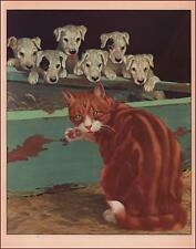 PUPPIES, DOGS, Watch a Big CAT by Diana Thorne, vintage print authentic 1941