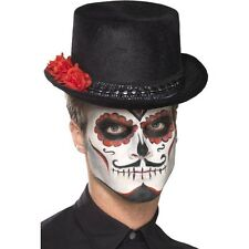 Unisex Men's Women's Day Of The Dead Top Hat With Roses Halloween Fancy Dress