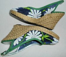 Beverly Feldman Shoes Blue Mesh Embroidered White Flowers Blue Green 7 HapaChico