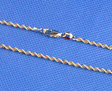 "1pcs 18k Yellow Italy Gold Polished 20 ""Double Wave necklace with chain Jewelry"