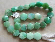 """15"""" Strand Chrysoprase Gemstone Faceted Puffed Hexagon Beads 13mm-16mm"""