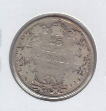1915 Twenty Five Cents Silver Canadian Coin