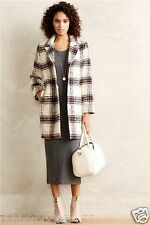 NEW Anthropologie Elevenses Nonie Checked Plaid Coat ivory black pink XS $188