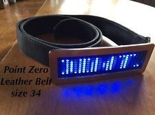 Point Zero Leather Belt (34) With Programmable LED Screen Message Belt Buckle.