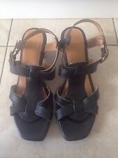 Clarks Ladies Black Heeled Wedge Shoes / Sandals Size 8. Great Condition.