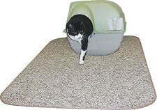 "Heavy Duty Cat Litter Box Mat Tan Brown Neat n' Tidy 36"" x 30"" Cats Made in USA"