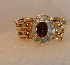 Charming Gold plated Flexible Mesh Hinged Red oval Ring sz 7 ~~Comfortable