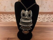Brand new vintage look large owl necklace with long chain and gift box