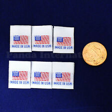 "1000 pcs Quality WOVEN SEWING LABELS FLAG ""MADE IN USA"" White, Fast Shipping@USA"