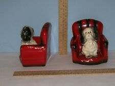 Dog on Chair Bookends - Chalkware - marked - Robia Ware - Roman Art Co - As Is