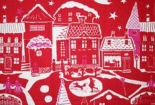 """Christmas theme Scandinavian 100% linen fabric by Linda Sjunnesson """"STADTEN"""""""