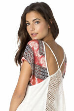 "NWT $54 MISS ME ""STEAL THE SHOW"" TOP MDT1149S-CORAL-MULTI size XS"