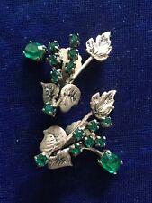 Vintage  Emerald Green Rhinestone Floral Clip Earrngs - Film Props Rockerbilly