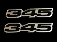 VMS 2 DODGE 345 CI CUBIC INCH HEMI ENGINE ALUMINUM EMBLEMS BLACK CHROME PAIR