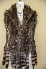 Vintage 60s 70s Multi Color Fur Vest Gilet Coat Jacket Fur Tail Boho Hippie