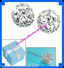 Earring CZ Stud Silvertone Dream with Blue Gift Box ~NEW~