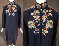 Antique Chinese Forbidden Stitch Embroidery Trim Blue Silk Drop Waist Dress Vtg